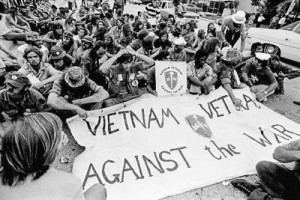"July 1972, Miami, Florida, USA --- Members of the group ""Vietnam Veterans Against the War"" are seated peacefully outside the Convention Hall where the 1972 Miami Democratic National Convention is being held. --- Image by © JP Laffont/Sygma/Corbis"